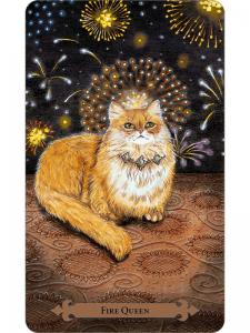 Fire Queen Tarot Card - Mystical Cats Tarot Deck
