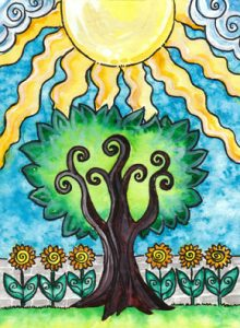 The Sun Tarot Card - The Tarot of Trees Deck