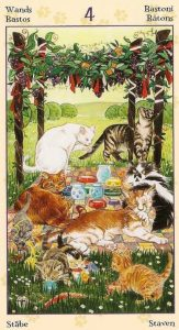 Four of Wands - Tarot of Pagan Cats Deck