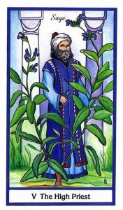 The High Priest - Hierophant -Tarot Card - Herbal Tarot Deck